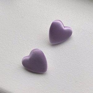 Lilac Fabric Heart Stud Earrings